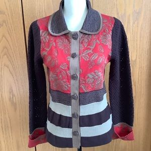 Anthropologie Liamolly Red & Brown Cardigan Sz-L
